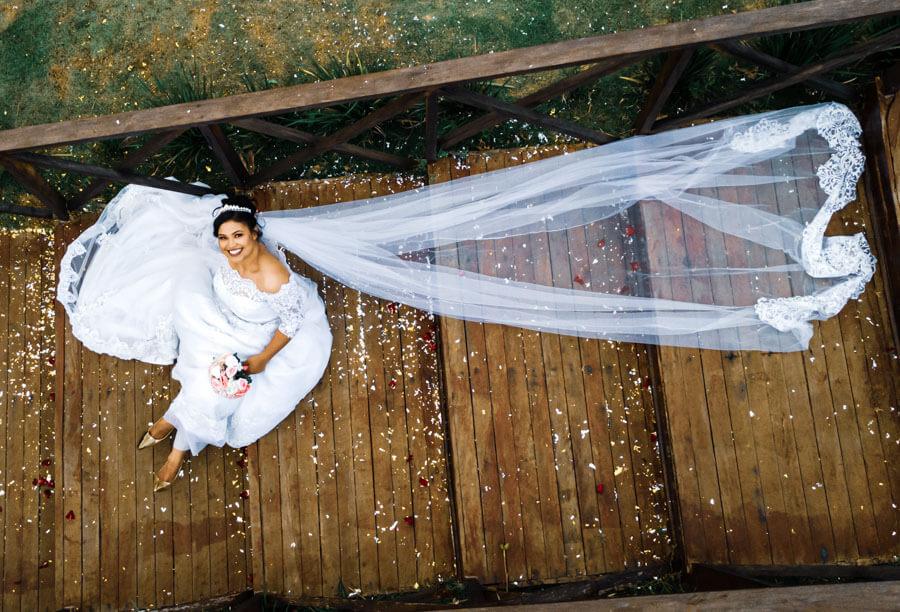 Ensaio de noiva com drone